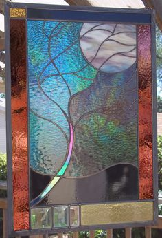 Flowing Tree in Moonlight Stained Glass Window Large by rneely, $179.00