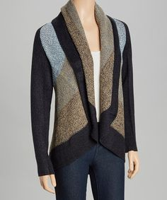 Another great find on #zulily! Navy & Camel Stripe Stripe Shawl Collar Cardigan by By Design #zulilyfinds