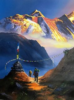 Mount Everest South View Nepal Himalayas Original Painting - New Ideas Watercolor Landscape, Landscape Art, Landscape Paintings, Watercolor Paintings, Scenery Paintings, Watercolour, Indian Art Paintings, Original Paintings, World Famous Painters