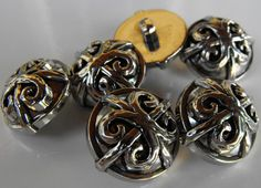 12 Silver Fancy X Small Round Shanked Buttons by AJStuff on Etsy, $2.50