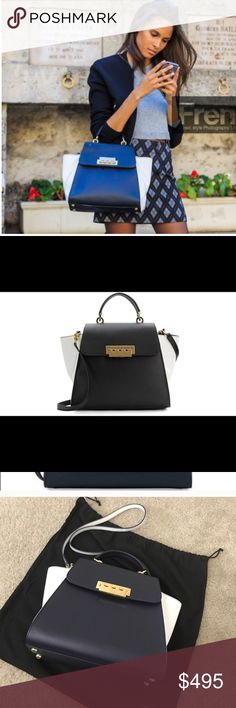 ZAC Eartha Colorblock Leather Satchel Brand new in bag. Black white leather bag with gold detailing. Purchased from Saks. Dust Bag included. ZAC Zac Posen Bags Satchels