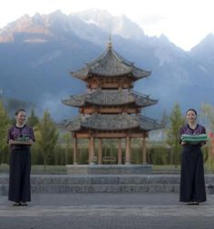 Banyan Tree Lijiang, Lijiang, China   With the 18,000-foot Jade Dragon Snow Mountain as the backdrop (pictured), the couple can wed dressed in ceremonial Dongba robes. Other unique cultural touches include rice wine and a Dongba priest who sings wedding sutras and asks the gods for blessings and fertility. Lijiang, a World Heritage city with canals, quaint bridges and cobblestone streets, is often called the Venice of the Orient.