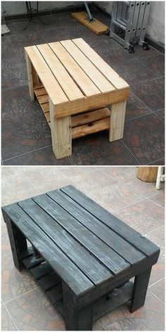 ✔️ 64 Simple & Elegant Coffee Table Plans Design For The DIYer Inspiration 9 - Interior Decoration Accessories coffee tables Wood Pallet Tables, Diy Pallet Furniture, Diy Pallet Projects, Wood Table, Wood Pallets, Wood Projects, Easy Projects, Pallet Wood, Outdoor Pallet