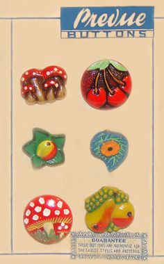 Fun and bright vintage glass fruit and veggie buttons