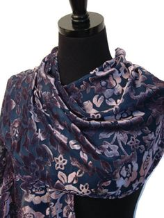 Navy and Purple Floral Burnout Velvet Scarf by pollyannedesigns, $41.00