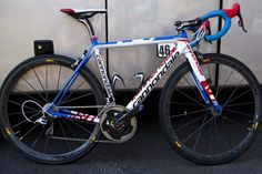 """Tim Duggan's Cannondale SuperSix EVO with """"US National Champion"""" custom graphics (from velonews)."""