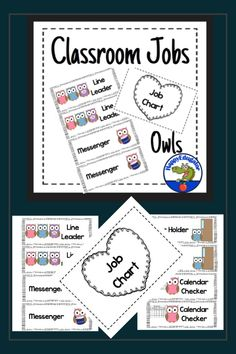 An owls themed Classroom Jobs Chart Header and 32 different owl theme job cards in black and white frames with two cards for each job. Makes a quick and easy clip chart for assigning classroom jobs. Owl Classroom Decor, Classroom Job Chart, Classroom Jobs, Classroom Organization, Beginning Of The School Year, Back To School, Instructional Planning, Black And White Frames, Easy Clip