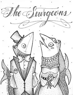 fish, sturgeons, art, drawing, sketch, olivia lazer, black and white, wedding, groom, bride, weird, strange, unusual, odd, bridal, husband, wife, funny