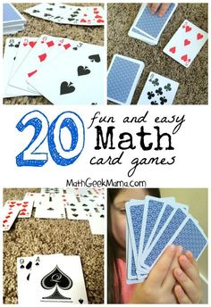A great collection of fun math card games! These are easy, and in most cases all you need is a deck of cards! A collection of dozens of the best math card games for Kindergarten through high school, organized by math topic to help you find what you need! Math Card Games, Card Games For Kids, Dice Games, Easy Math Games, Cool Math For Kids, School Games For Kids, Summer School Activities, Fun Math Activities, Therapy Activities