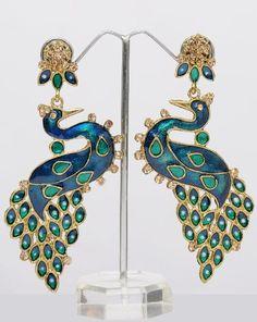 Blue & Green Peacock Indian Earrings With Meenakari & Stones