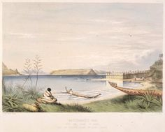 """Shows part of the outer palisades of the Ngati Toa pa """"Taupo"""" on the mainland at present day in Plimmerton. The island of Mana is in the centre distance. In the foreground are canoes belonging to Ngati Toa and there are flax bushes growing in the left foreground. A figure in a striped blanket sits in the left foreground. Maori People, Chur, Easter Island, Canoes, Solomon Islands, Cook Islands, Papua New Guinea, New Zealand, Distance"""
