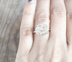 Solitaire herkimer diamond and sterling silver ring  A big rough Herkimer diamond nugget is firmly set into sterling silver prongs. Impressive,