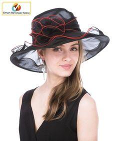 a9a083d2ceb Women Wide Brim Hat Wedding Party Church Floral Organza Kentucky Derby Hat  Black  Saferin  womens