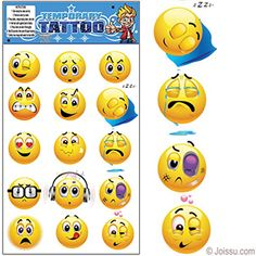 EMOJI TEMPORARY TATTOOS. Show your emotions in shorthand with these funny temporary tattoos. Assorted colors and styles. Each set cello wrapped on display card with hanging tab. Perfect for Halloween costume accessories, Easter basket treats and party favors. Size 9 X 5.5 Inches