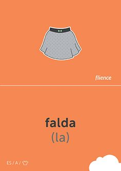Falda #CardFly #flience #clothes #spanish #education #flashcard #language