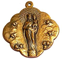 Vintage Bronze Holy Medal Madonna Child Jesus Cherubs Angels (Image1)Stunning Antique Art Nouveau religious medal pendant featuring the Blessed Mother Virgin Mary and the Christ Child Jesus surrounded by cherubs. Back is plain, 1 inch wide without the top loop.