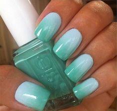I love this Essie color! Go Essie. Mint Nail Designs, Nail Art Designs, Nails Design, Summer Nail Designs, Accent Nail Designs, Fancy Nails, Love Nails, Color Nails, Gradient Color