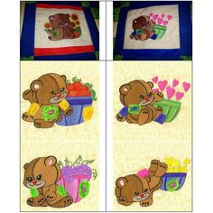 """""""Raggy Patch Bears 5x7"""" Ten adorable #MachineEmbroidery bears are included in this set, that just makes us smile when we see them! Each darling bear has a basket nearby full of all sorts of things, from fruit to flowers. Perfect for quilts and more, and so beary cute, we know you'll want to pick your set up today!"""