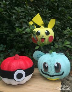 DIY Pokemon GO pumpkins and free printable patterns to make a Pokeball, Squirtle, and Picachu