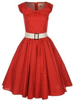 Lindy Bop 'Hetty' Red Polka Dot Bow Shawl Collar Vintage 1950'S Rockabilly Swing Party Dress,$46.99