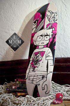 Scott Pilgrim Skateboard - The crafted deck by LeMathMath , via Behance