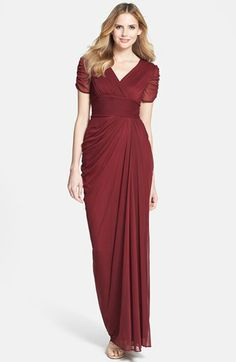 Adrianna Papell Draped Mesh Gown (Regular & Petite) available at #Nordstrom Love this #MatronofHonor ;))
