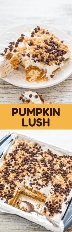 This dessert has everything going for it. It's a layered dessert that begins with a slightly crunchy graham cracker crust, a sweet yet tangy layer of cream cheese, a layer of vanilla pudding that's spiked with pumpkin, topped with whipped topping, and sprinkled with crunchy toffee bits and chocolate chips for texture. #dessert #pumpkin #cake #bestdessert #foodrecipes Bbq Desserts, Quick Easy Desserts, Pudding Desserts, Low Carb Desserts, Sweet Desserts, Delicious Cake Recipes, Best Cake Recipes, Yummy Cakes, Snack Recipes