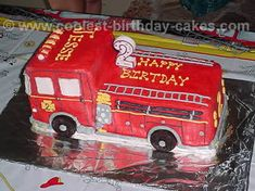 """My grown son would have LOVED this fire truck cake in the late seventies when his favorite show was """"Emergency"""" with his heroes.Johnny and Roy. Fireman Birthday, Fireman Party, Truck Birthday Cakes, Homemade Birthday Cakes, Fire Engine Cake, Cakes For Boys, Cute Cakes, Fire Trucks, Fondant"""
