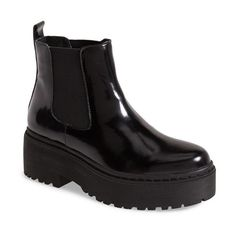 Women's Jeffrey Campbell 'Universal' Chelsea Boot (€125) ❤ liked on Polyvore featuring shoes, boots, ankle booties, botas, ankle boots, jeffrey campbell bootie, short leather boots, platform chelsea boots, jeffrey campbell booties and leather ankle booties