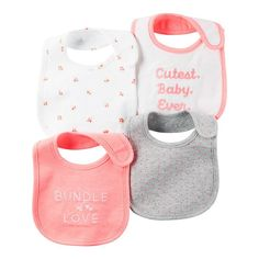 "Carter's 4 Pack Assorted Pattern Bibs - Carters - Babies""R""Us Baby Necessities, Baby Essentials, Teething Bibs, Teething Gel, Baby Co, Carters Baby Girl, Everything Baby, Cute Baby Clothes, Reborn Babies"