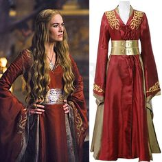Game of Thrones Cosplay Cersei Lannister Dress Red Embroidered... (€115) ❤ liked on Polyvore featuring costumes, stitch halloween costume, stitch costume, cosplay halloween costumes, cosplay costumes and role play costumes