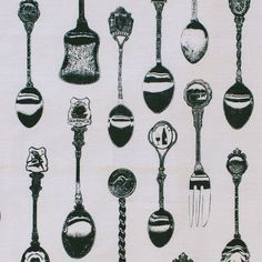 Vintage Teaspoons Print Tea Towel (Black Spoons on off white Linen) Rhythm And Blues, Unique Gifts, Handmade Gifts, Online Gifts, Tea Towels, Screen Printing, Linen Shop, The Incredibles, Crafty