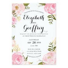 """Modern Vintage Pink Floral Wedding Invitation 5"""" X 7"""" Invitation Card $2.38 or 40% off 100 invites, See it now on Zazzle.com"""