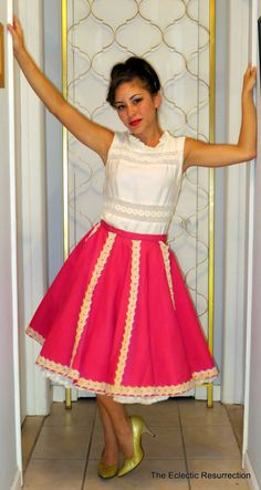 Vintage Square Dance Skirt Rockabilly 1960s Hot Pink Circle Skirt-Swing Dance