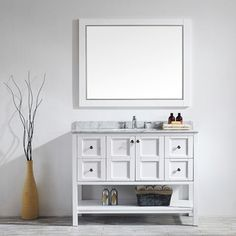 "Florence 48"" Single Vanity in White with Carrara White Marble Top with Mirror"