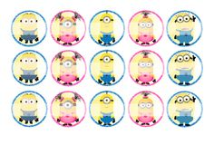 """Minion Girls and Boys - 1"""" Bottle Cap Designs / DIY Hair Accessories / DIY Earrings / DIY Necklace / DIY Key Chain / Birthday Party / Party Favors / DIY Magnets / Bottle Cap Crafts / Bottle Cap Art / Bottle Cap Ideas / Bottle Cap Party Favors / Children Party Ideas / Children Party Themes / Kid Party Ideas / DIY Party Ideas"""