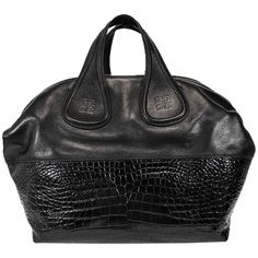 Pre-owned Givenchy New Nightingale Calf Leather Hobo Black Satchel ($1,681) ❤ liked on Polyvore featuring bags, handbags, black, hobo handbags, black satchel handbag, black satchel purse, crocodile purse и givenchy purse