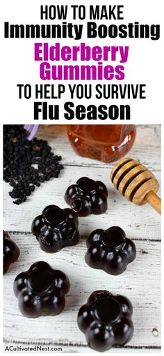 Immunity Boosting Elderberry Gummies- The best way to make it through the winter cold/flu season is by keeping your immune system strong. You can easily strengthen your system's sickness fighting. Elderberry Gummies, Elderberry Recipes, Elderberry Syrup, Elderberry Benefits, Agar, Cold Remedies, Natural Remedies, Herbal Remedies, Holistic Remedies