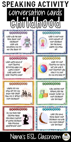 Ignite conversation in your classroom with these engaging conversation starter cards about childhood and memories. A total of 40 cards with one or more questions per card. English Teaching Materials, English Speaking Skills, English Language Learning, Learn English Words, English Lessons, English Vocabulary, Teaching English, Conversation Starter Questions, Conversation Starters For Kids