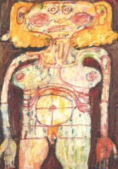Desnuda par Jean Dubuffet Collages, Art Informel, Jean Dubuffet, Orange Art, Art Brut, Abstract Drawings, Outsider Art, Horror Art, French Artists