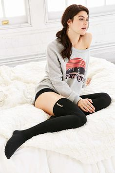 Lightweight Button Thigh-High Thermal Sock