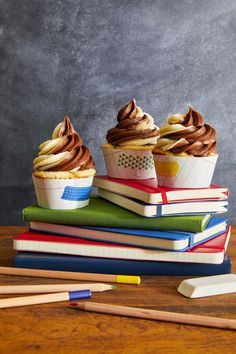 Chocolate Chunk Cupcakes with Swirled Frostingcountryliving