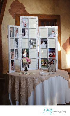 Engagement pics on guest book table