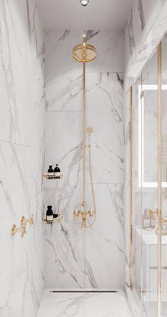 White Marble & Gold Bathroom Shower #homedecor #shower #bathroom Home Room Design, Dream Home Design, Home Interior Design, Mansion Interior, Luxury Interior, Bathroom Design Inspiration, Bad Inspiration, Bathroom Design Luxury, Modern Bathroom Design