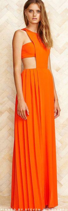 Thai Nguyen Atelier Spring 2016 Lookbook - Carrie Orange Silk Crepe Pleated Dress #thainguyen #spring2016 #ss16
