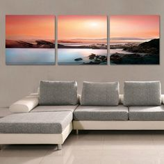 Ocean Sunset Modern Canvas Art Canvas Oil Painting (NO Frame) #Abstract