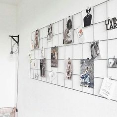 Idea for wall behind desk! Iron mesh board vertically or not but that way you can just print pics and change em up. Keep the original 2 above by your bed. Anything else you want can go on this board