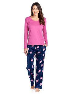 c0f8e75636 Ashford   Brooks Women s Long Sleeve Cotton Top with Mink Fleece Pants Pajama  Set - Navy Pink Flamingo -