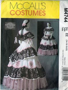 McCall's 4744 Historical Costume Pattern: Civil War Ball Gown and Petticoat Sewing Pattern Size 14-20. $35.00, via Etsy.