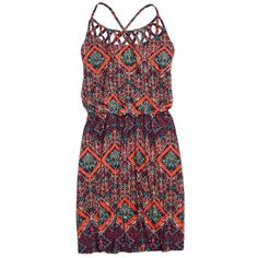 openwork printed dress ($34) ❤ liked on Polyvore featuring dresses, vestidos, lined dress, maurices, lining dress, tribal dress and stretch dress